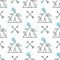 Seamless pattern with stylized wigwam and arrows. Vector wallpaper isolated on white background. Trendy geometric ethnic illustration