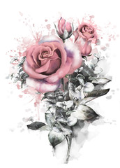 watercolor flowers. romantic floral illustration, pink rose. Splash paint. branch of flowers isolated on white background. Leaf and buds. Bouquet, composition for wedding or greeting card