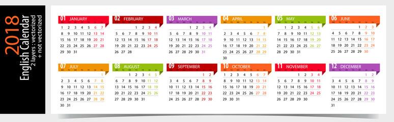 English Calendar 2018 / Editable