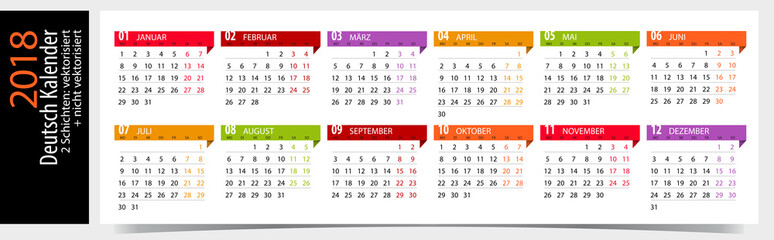 Deutsch Kalender 2018 - German Calendar 2018