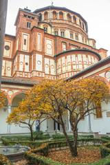church Santa Maria Delle Grazie in Milan, Italy, from courtyard vertical view.