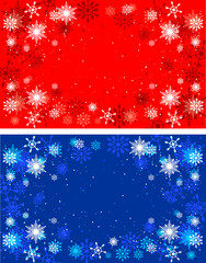Winter red and blue backgrounds. Christmas background with snowf
