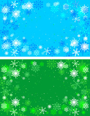 Christmas green and blue backgrounds. Winter background with sno