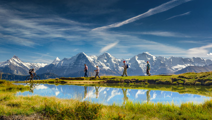 Outdoor activities in the Swiss Alps, Bernese Oberland, Switzerland.