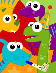 Dinosaur Birthday Card - Festive and colorful birthday card with cute dinosaurs. Eps10