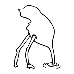 Hand sketch of ostrich, draw.