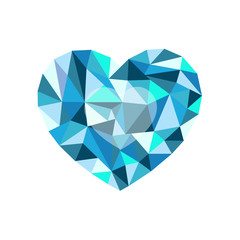 blue polygonal heart. a symbol of Valentine's Day - Stock Vector