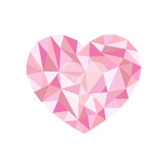 pink polygonal heart. a symbol of Valentine's Day - Stock Vector