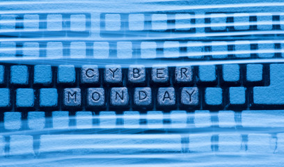 computer keyboard with words Cyber Monday