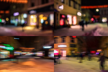 people moving on old city night street blurred