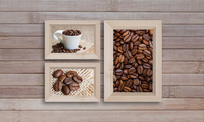 Collage of photo frames with coffee motif posters on wooden panels wall, interior decor mock up