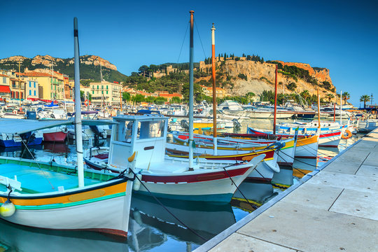 Spectacular harbor with Cap Canaille cliffs,France,Europe