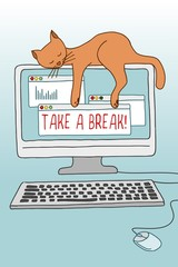 Cute conceptual illustration of a cat asleep on the computer screen, demonstrating the importance of taking a break