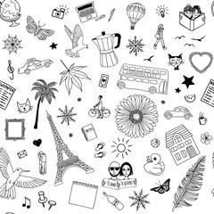 Seamless pattern of random hand drawn items