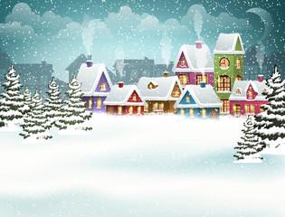 Snowy city landscape