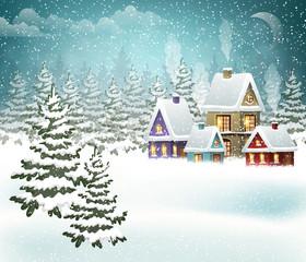 Snowy village landscape