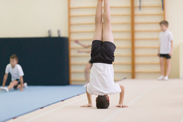 Gomel, Belarus - 19 November 2016: Sports competitions in acrobatics among boys and girls born in 2005-2006