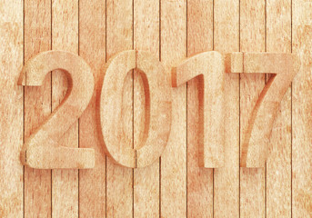 2017 New year wooden digits on wooden planks. 3d rendering