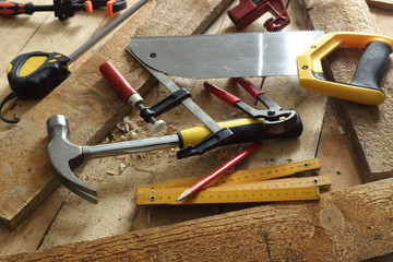 carpenter's tools on workbench