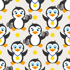 Funny sport pattern with penguin and gold medal. Fitness background.