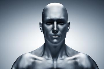 Generic human man face, front view. Futuristic