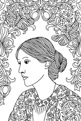 Hand drawn ink portrait of Virginia Woolf, with butterfly moths and Victorian flower pattern - black and white illustration