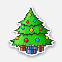 Cartoon sticker with Christmas tree in comic style