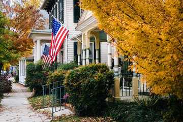 Autumn color and house in Easton, Maryland.