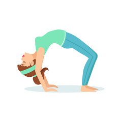 Wheel Chakrasana Yoga Pose Demonstrated By The Girl Cartoon Yogi With Ponytail In Blue Sportive Clothing Vector Illustration