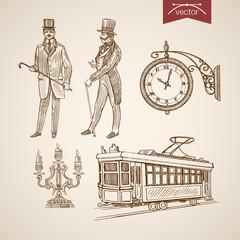 Engraving hand vector chandelier tram clock gentleman