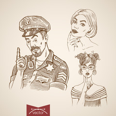 Engraving hand vector prostitute and policeman