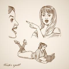 Engraving vintage woman lie read book ladies hand drawn vector