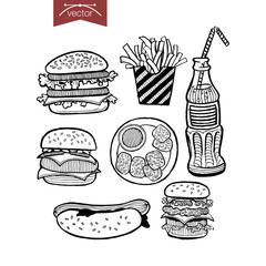Engraving vintage hand drawn vector fries burger Sketch