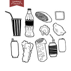 Engraving vintage hand drawn vector ravioli coda sandwich Sketch
