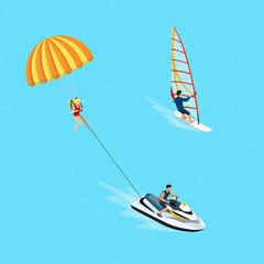 Flat isometric windsurfer parasailing vector 3d Water sports