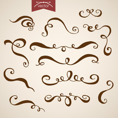 Engraving hand vector Swirly Lines
