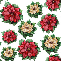 Seamless Pattern with Watercolor Red and White Poinsettis
