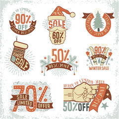 Christmas sale discount coupon logos, compositions, badges, posters retro style doodle. Vector illustration.