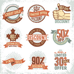 Discount sale coupons, logos, labels in vintage retro doodle style, on a white background. Vector  layered illustration.