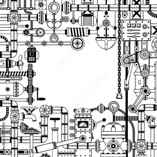 Steampunk doodle frame of various machine parts, scrap metal ...