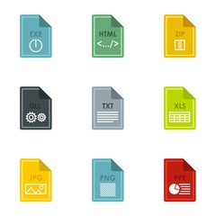 Files icons set. Flat illustration of 9 files vector icons for web