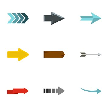 Types of arrows icons set. Flat illustration of 9 types of arrows vector icons for web