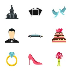 Marriage icons set. Flat illustration of 9 marriage vector icons for web