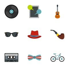 Hippie icons set. Flat illustration of 9 hippie vector icons for web