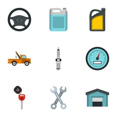 Repair machine icons set. Flat illustration of 9 repair machine vector icons for web