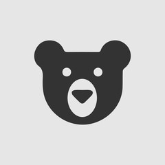 Teddy bear face vector icon. Simple isolated logo symbol.