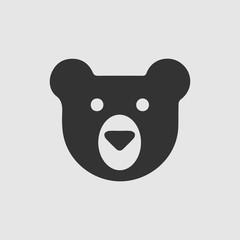 Teddy bear face vector icon. Simple isolated logo symbol.