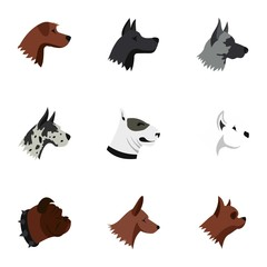 Dog icons set. Flat illustration of 9 dog vector icons for web