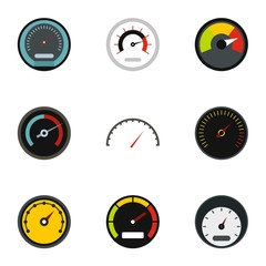 Speed measurement icons set. Flat illustration of 9 speed measurement vector icons for web