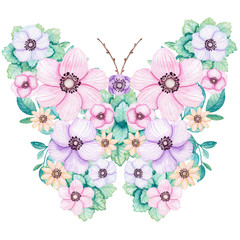 Romantic Floral Butterfly with Watercolor Pink, Violet and Yellow Flowers